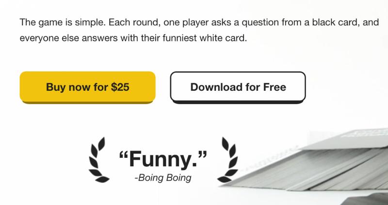 Site web de Cards against humanity