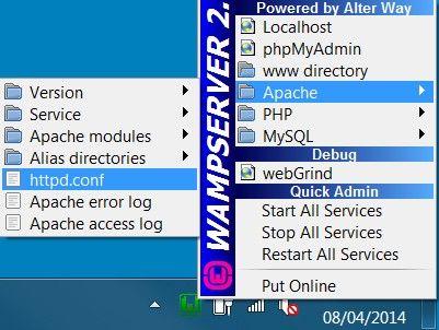 interface sous wampserver2