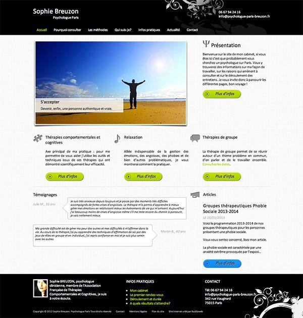 Page d'accueil d'un site pour une psychologue