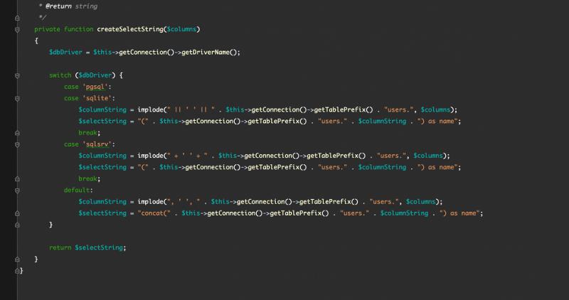 Interface réorganisée de php Storm