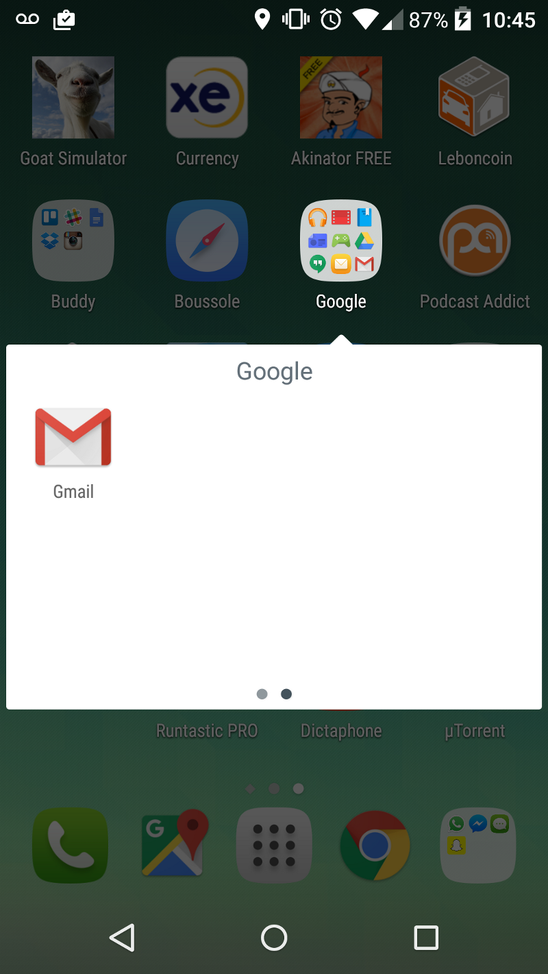 Ecran d'un mobile qui liste des applications réorganisées