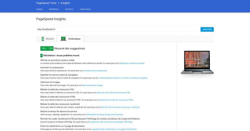 Page de test de Google Page Speed