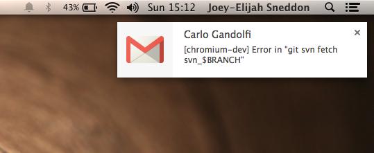 Notification sur écran mac