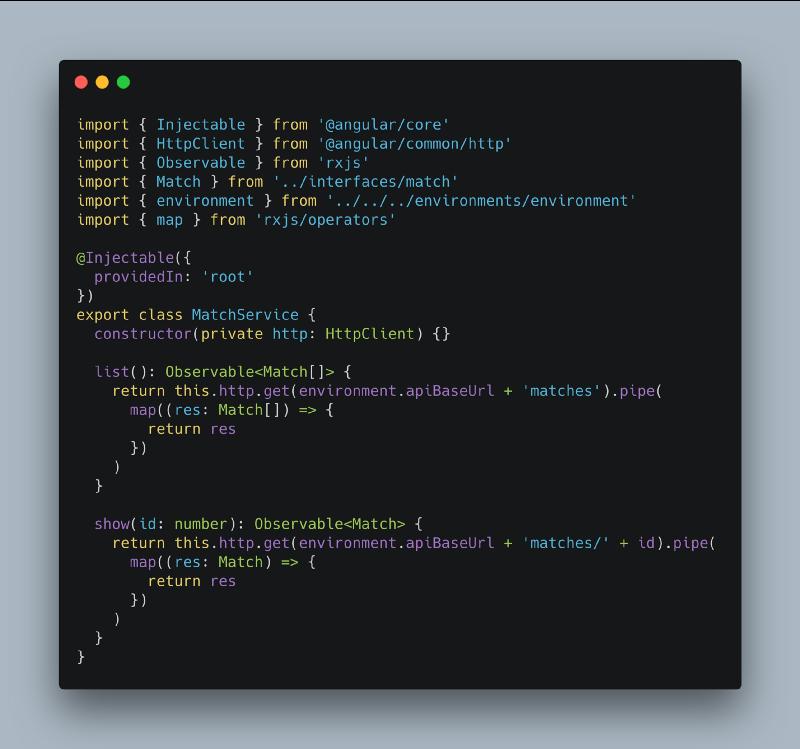 vu d'un fichier typescript dans un projet Angular