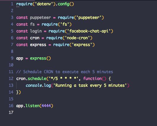 Code d'une tache cron en javascript