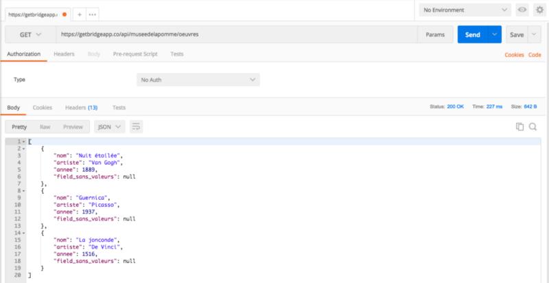 Fichier JSON renvoyé par l'API