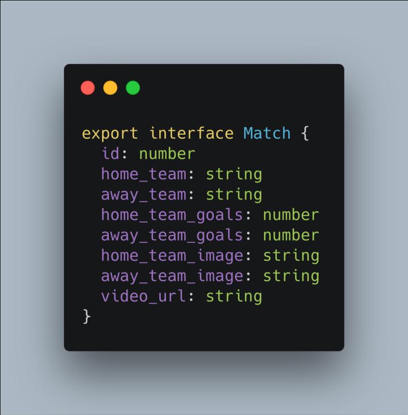 Fichier typescript d'un match