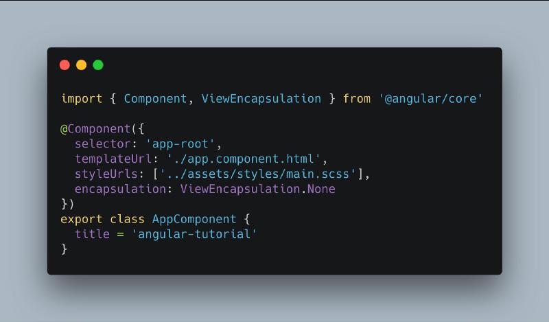 Screenshot du code de la propriété encapsulation du décorateur @composant