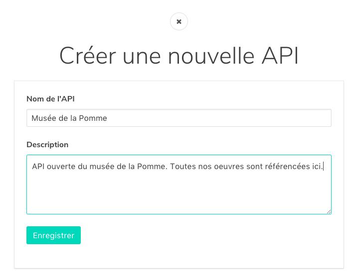 modal dialog to create an API.