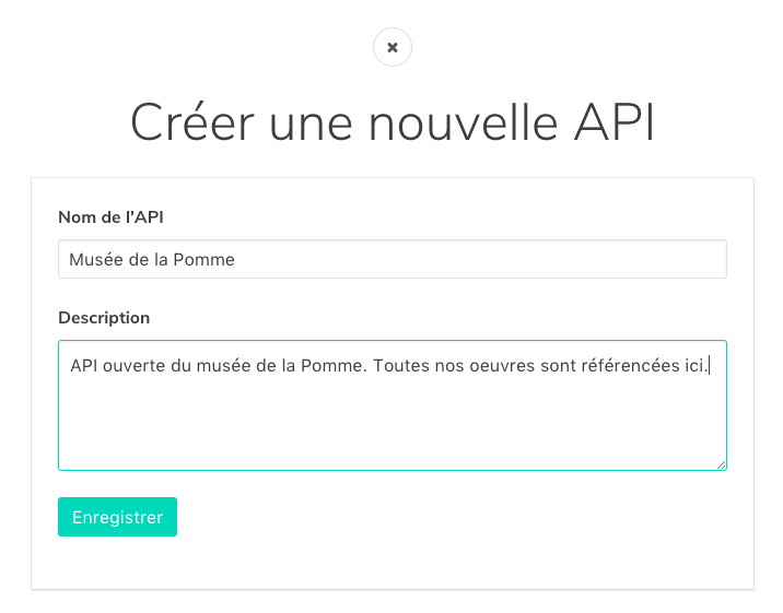 Modale de création d'une API via Bridge