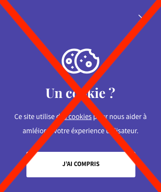 Screenchot d'une modale de validation des cookies